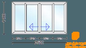 پنجره دو جداره چهار قسمت کشویی