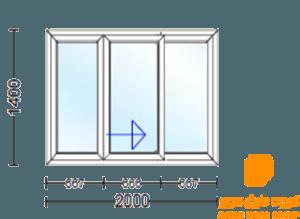 پنجره دو جداره سه قسمت کشویی وسط بازشو